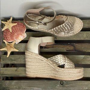Mark Fisher AYLON Gold Espadrille Wedge Sandals 8M